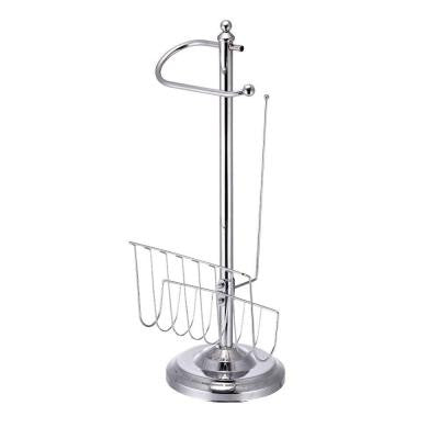 Freestanding Toilet Paper Holder with Magazine Holder in Chrome