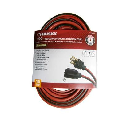 100 ft. 16/3 SJTW Extension Cord - Red and Black