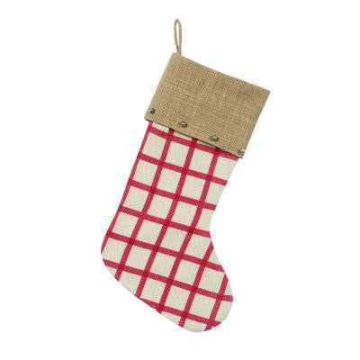 19 in. Cotton Wide Plaid Stocking