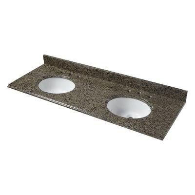61 in. W Granite Vanity Top in Quadro with Double White Bowls and 8 in. Faucet Spread