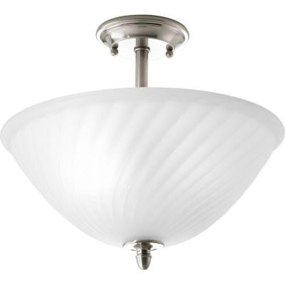 Kensington Collection 2-Light Brushed Nickel Semi-flushmount