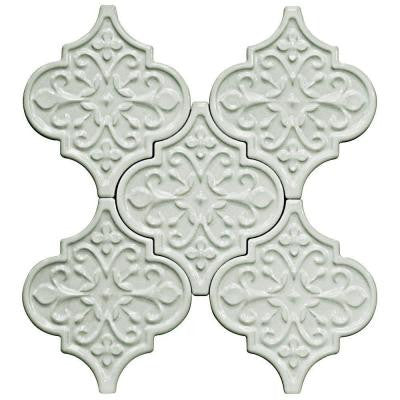 Vintage Florid Lantern Light Blue 6-1/4 in. x 7-1/4 in. x 10 mm Ceramic Wall Mosaic Tile (5 Tiles Per Unit)
