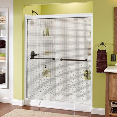 Phoebe 59-3/8 in. x 70 in. Semi-Framed Sliding Shower Door in White with Mosaic Glass and Nickel Handle