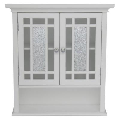Winfield 24 in. H x 22 in. W x 7 in. D Wall Cabinet in White Color with Mosaic Glass