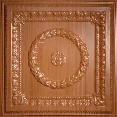 Evangeline Faux Wood-Caramel 2 ft. x 2 ft. Lay-in or Glue-up Ceiling Panel (Case of 6)