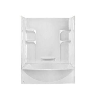 Ovation 33.75 in. x 60 in. x 75 in. Standard Fit Bathtub Kit with Right-Hand Drain in Arctic