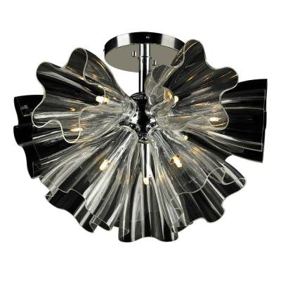 9-Light Polished Chrome Clear Glass Semi Flush Mount