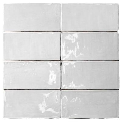 Catalina White 3 in. x 6 in. x 8 mm Ceramic Floor and Wall Subway Tile (8 Tiles Per Unit)
