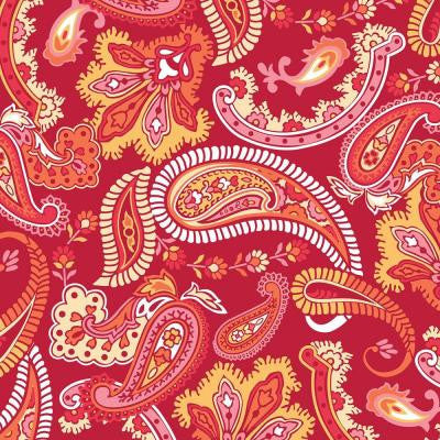13 in. x 13 in. Paisley Please Blox - Red/Pink 8-Piece Wall Decal