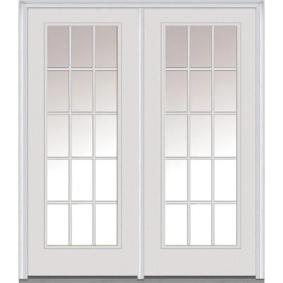 Classic Clear Glass 72 in. x 80 in. Fiberglass Smooth Prehung Right-Hand Inswing 15 Lite GBG Patio Door