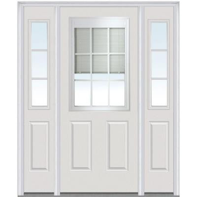 60 in. x 80 in. Classic Clear RLB GBG Low-E 1/2 Lite Painted Builder's Choice Steel Prehung Front Door with Sidelites