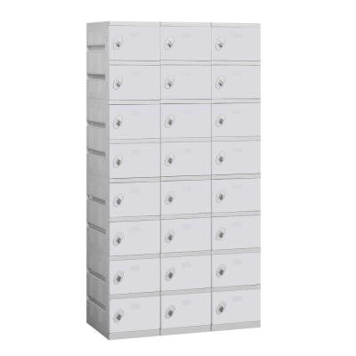 98000 Series 38.25 in. W x 74 in. H x 18 in. D 8-Tier Plastic Lockers Unassembled in Gray
