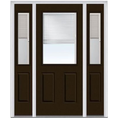 64 in. x 80 in. Classic Clear Glass RLB 1/2 Lite 2-Panel Painted Majestic Steel Prehung Front Door with Sidelites