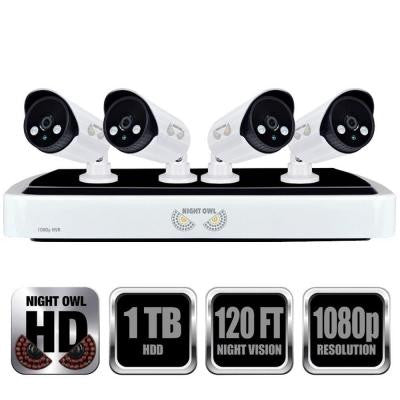 4-Channel Full 1080p Network Video Recorder with 1TB HDD and 4 Night Vision 1080p HD IP Cameras