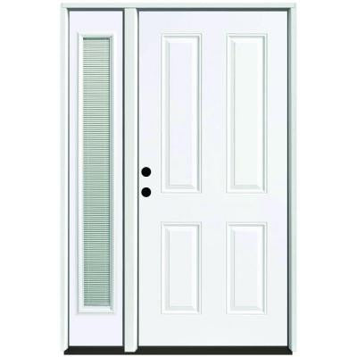 49 in. x 80 in. 4-Panel Primed White Right-Hand Steel Prehung Front Door with 10 in. Mini Blind Sidelite 4 in. Wall