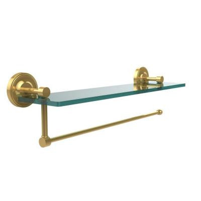Prestige Regal Collection Paper Towel Holder with 16 in. W Glass Shelf in Polished Brass