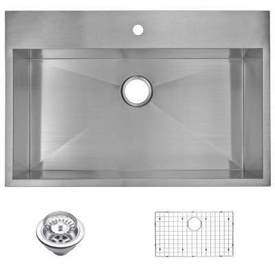 Top Mount Zero Radius Stainless Steel 33x22x10 1-Hole Single Bowl Kitchen Sink with Strainer and Grid in Satin Finish