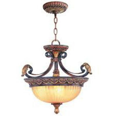 Providence 3-Light Ceiling Verona Bronze with Aged Gold Leaf Accents Incandescent Semi Flush Mount