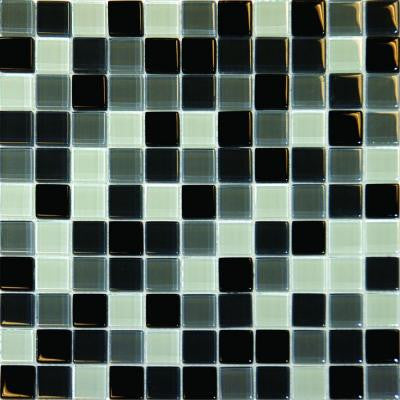 Black Blend 12 In. x 12 In. x 8 mm Glass Mesh-Mounted Mosaic Tile
