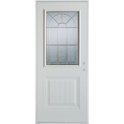 36 in. x 80 in. Geometric Brass 1/2 Lite 1-Panel Prefinished White Left-Hand Inswing Steel Prehung Front Door