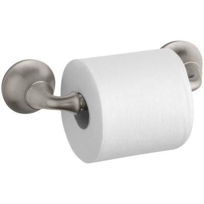 Forte Sculpted Wall-Mount Double Post Toilet Paper Holder in Vibrant Brushed Nickel
