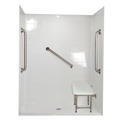 Standard Plus 24 31 in. x 60 in. x 77-1/2 in. Barrier Free Roll-In Shower Kit in White with Center Drain