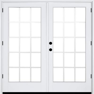 71-1/4 in. x 79-1/2 in. Composite White Right-Hand Outswing Hinged Patio Door with 15 Lite External Grilles