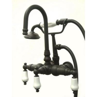 Porcelain Lever 3-Handle Claw Foot Tub Faucet with Handshower in Oil Rubbed Bronze