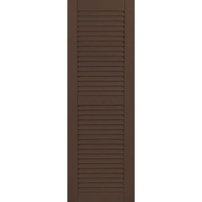 12 in. x 28 in. Exterior Composite Wood Louvered Shutters Pair Tudor Brown