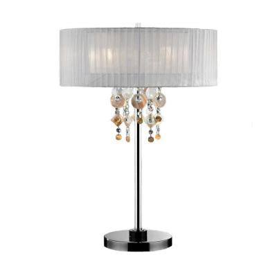 29 in. White and Silver Chrome Steel Moon Jewel Table Lamp