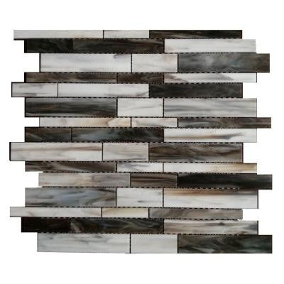 Matchstix Torrent 10 in. x 11 in. x 8 mm Glass Mosaic Floor and Wall Tile