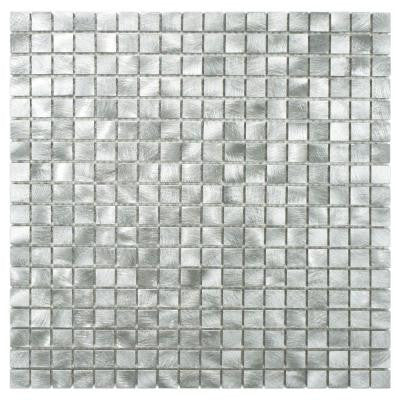 Alumina Mini Palladium 12 in. x 12 in. x 8 mm Brushed Aluminum Mosaic Wall Tile
