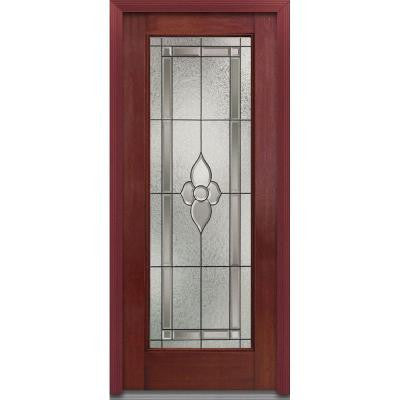 36 in. x 80 in. Master Nouveau Decorative Glass Full Lite Finished Mahogany Fiberglass Prehung Front Door