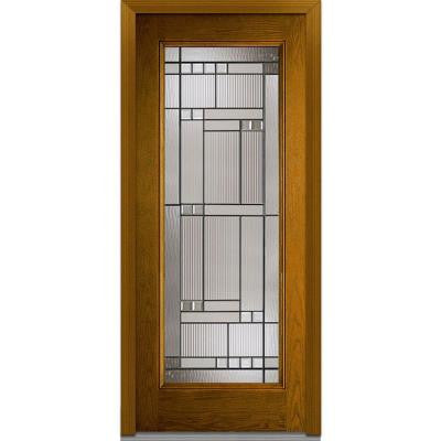 32 In. X 80 In. Kensington Decorative Glass Full Lite Finished Oak  Fiberglass Prehung