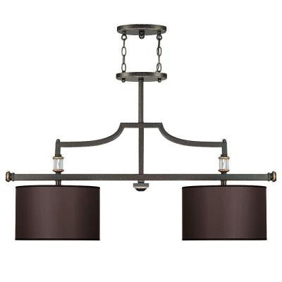2-Light Trestle Distressed Bronze Finish Charcoal Fabric Shades