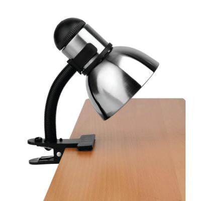 Designer Collection 9 in. Black Desk Lamp with Polished Steel Metal Shade