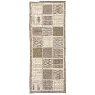 Jardin Collection Contemporary Boxes Design Brown 2 ft. 7 in. x 7 ft. Outdoor Rug Runner