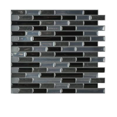 9.13 in. x 10.25 in. Muretto Mosaic Decorative Wall Tile in Nero (6-Pack)