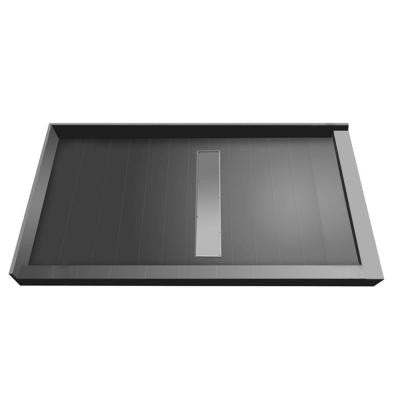 34 in. x 60 in. Double Threshold Shower Base with Center Drain and Tileable Trench Grate