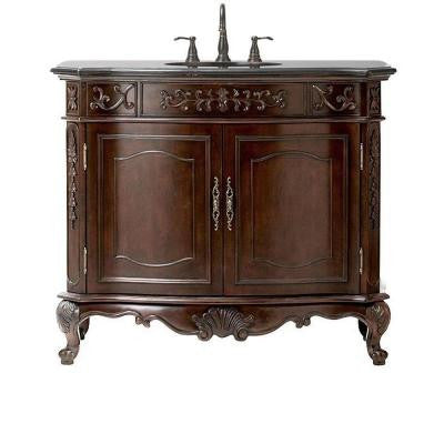 Winslow 43 in. Vanity in Antique Cherry with Granite Vanity Top in Black