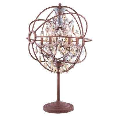 Geneva 34 in. Rustic Intent Table Lamp with Golden Teak Smoky Crystal