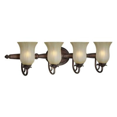 4-Light Black Cherry Bath Vanity Light with Umber Mist Glass