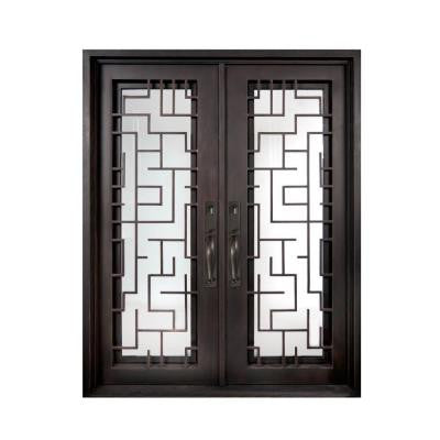 74 in. x 110 in. Bel Sol Classic Full Lite Painted Oil Rubbed Bronze Decorative Wrought Iron Prehung Front Door