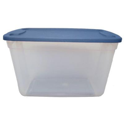 20-Gal. Storage Tote in Clear Base Blue Lid