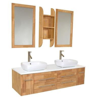 Bellezza 59 in. Double Vanity in Natural Wood with Marble Vanity Top in White and Mirror