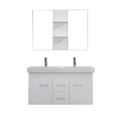 Opal 48 in. Double Vanity in White with Ceramic Vanity Top in White and Mirrors