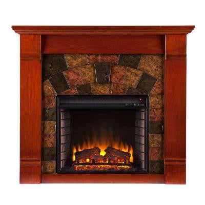 Roberto 45.5 in. Freestanding Electric Fireplace in Mahogany
