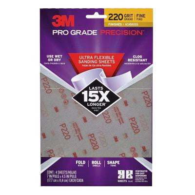Pro Grade Precision 4.5 in. x 7 in. 220 Grit Fine Ultra Flexible Sanding Sheets (4-Pack)