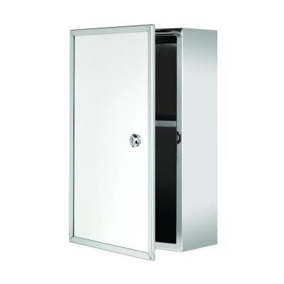Trent 15.75 in. H x 9.84 in. W x 5.12 in. D Lockable Surface Mount Medicine Cabinet Only in Stainless Steel with Keys