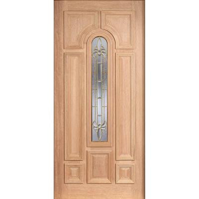 36 in. x 80 in. Mahogany Type Unfinished Beveled Brass Arch Glass Solid Wood Front Door Slab